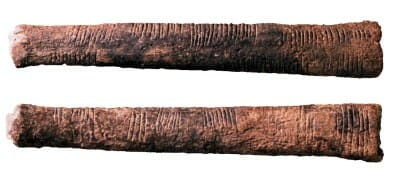 The Ishango bone, a tally stick from central Africa, dates from about 20,000 years ago